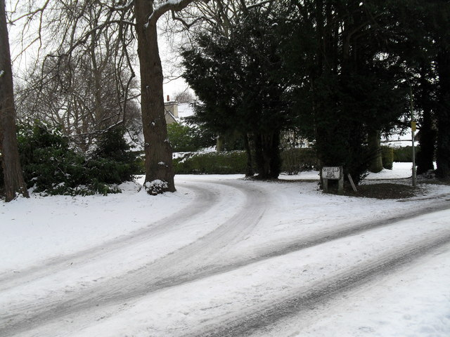 Junction of a snowy Wade Court Road and Shawfield Road
