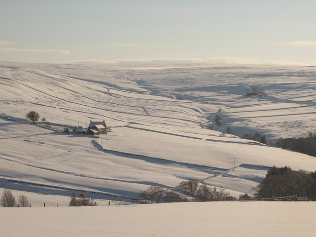 The valley of Sinderhope Burn in the snow