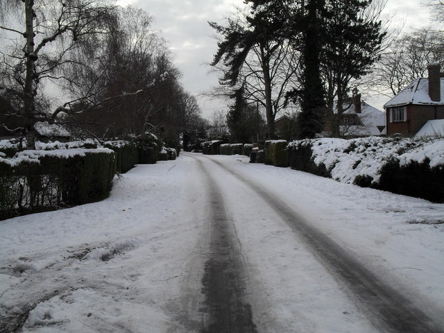 Mid section of a snowy Wade Court Road