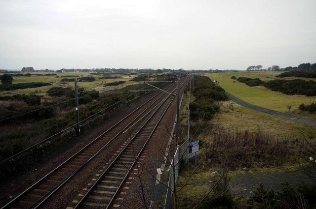 Ayr to Glasgow line approaching Troon