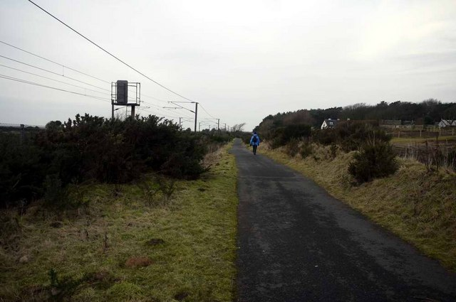 The Ayr to Irvine cycle track leaving Prestwick