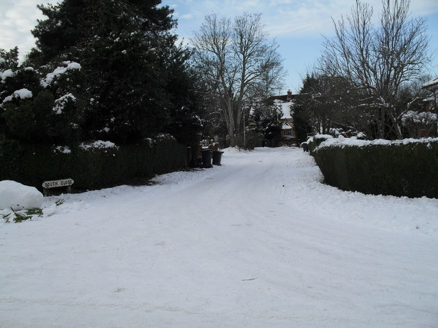 Looking from a snowy Wade Court Road into South Close