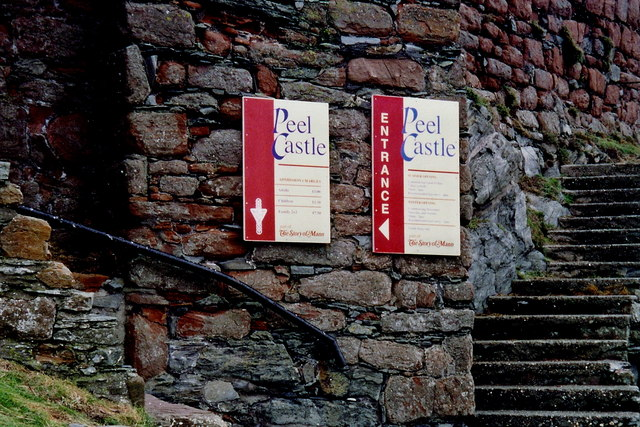 Peel - Castle entrance signs to access the interior