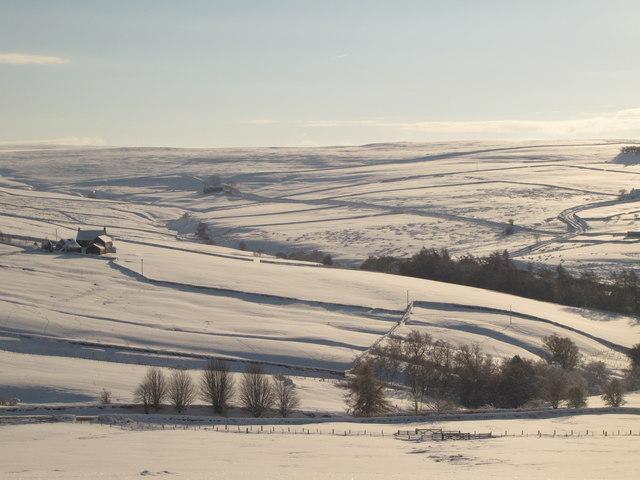 The valleys of Hollocks Burn and Sinderhope Burn in the snow