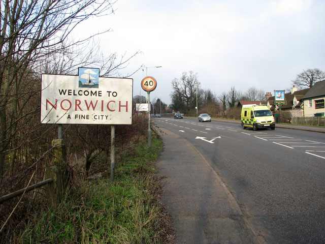 Welcome to Norwich (sign)