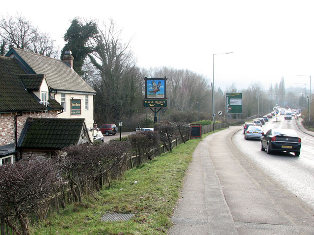 Ipswich Road (A140) past the Marsh Harrier public house
