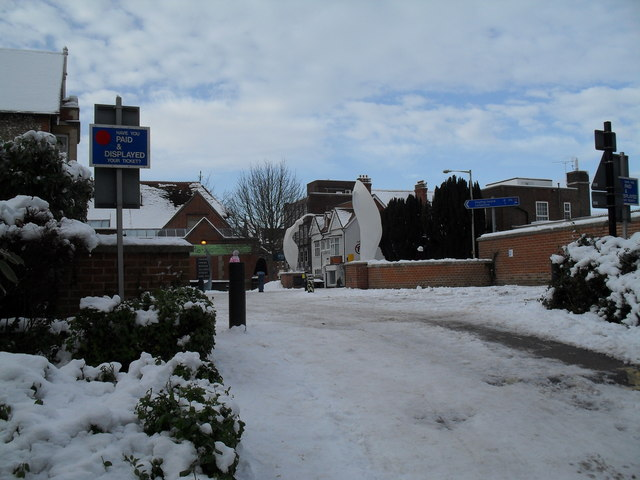 A snowy entrance to Havant Museum
