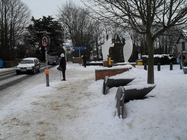 Treacherous conditions outside Havant Museum in Emsworth Road