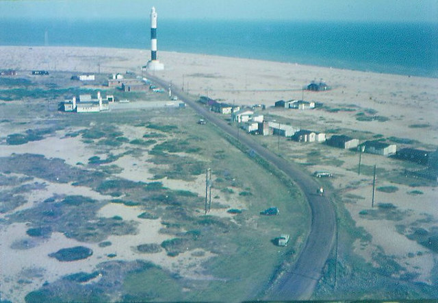 Dungeness new lighthouse taken from old lighthouse in 1968