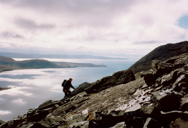 High on the Dubh slabs, with Loch Scavaig behind