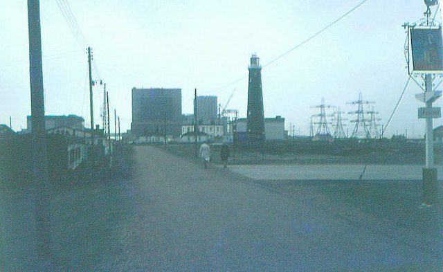 Dungeness Nuclear Power Station & old lighthouse in 1972