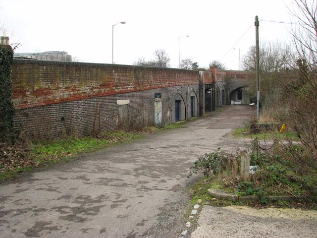 Lane alongside the railway bridge in Trowse
