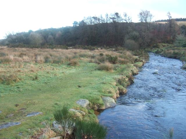 Looking downstream from Postbridge clapper bridge