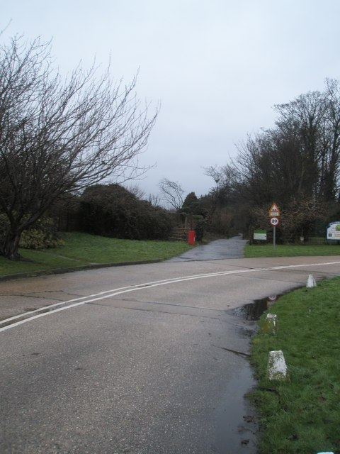 Road and path junction in Pigeonhouse Lane