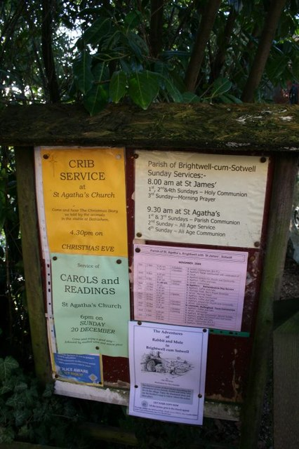 Notice board at St James