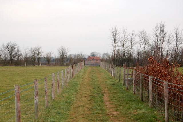 Looking northwest along the bridleway from Top Farm