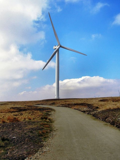 Knowl Moor, wind turbine and access track