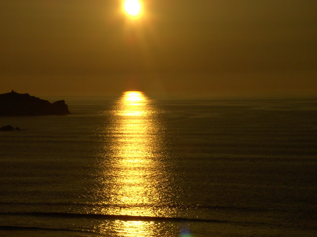 Late May sunset over Newquay Bay