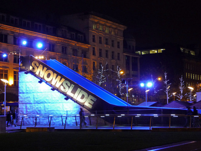 Snow slide at Piccadilly Gardens