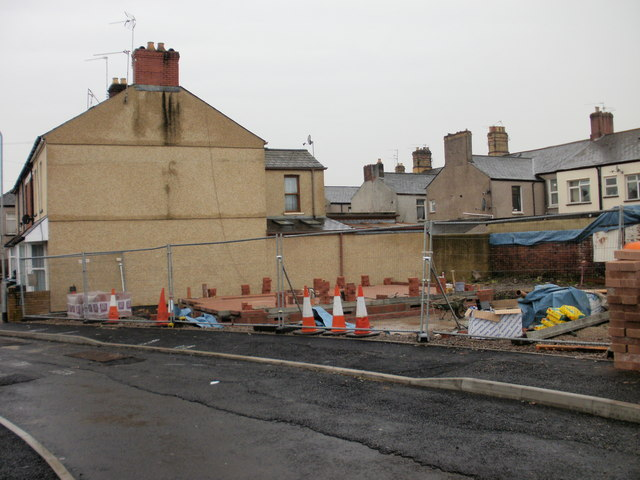 Construction work on site between Exeter Road and Vine Place, Newport