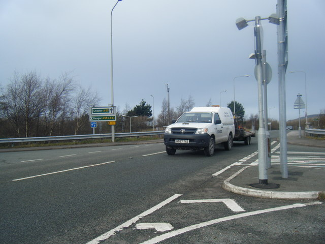 A547 Bangor Road at Junction 17 of A55, west of Conwy.