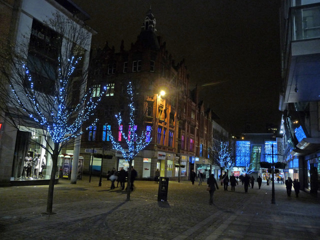 Christmas lights on Market Street