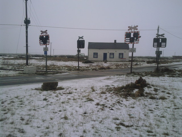 Wintry level crossing at Dungeness