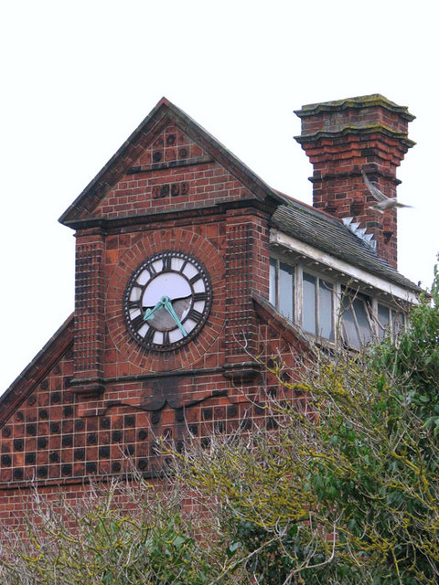 Trowse pumping station - clock on ancillary building