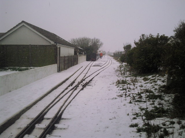 Romney Sands station in snow