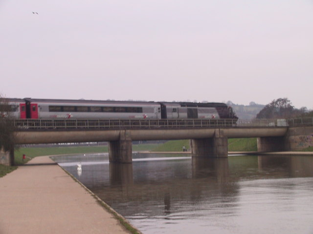 Train crossing the Exeter flood relief channel