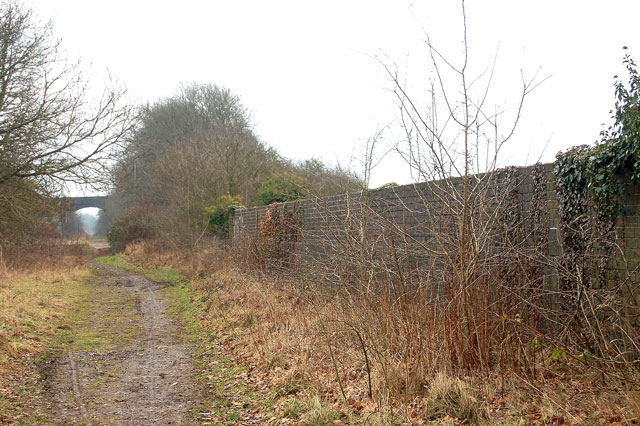 Trackbed of dismantled railway at bridge over A423, Marton