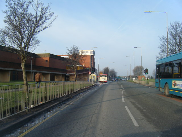 Childwall Valley road with Belle Vale Shopping Centre on the left.