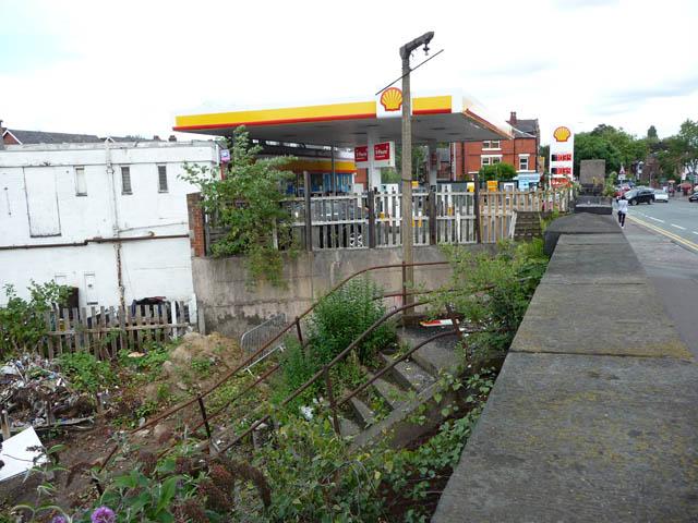 Steps to southbound platform, site of Chorlton cum Hardy station