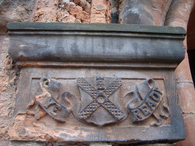 Carving on doorway arch, Pollokshields Burgh Hall