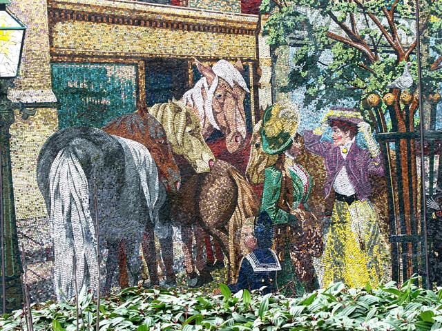 Detail of Horse Fair mosaic mural