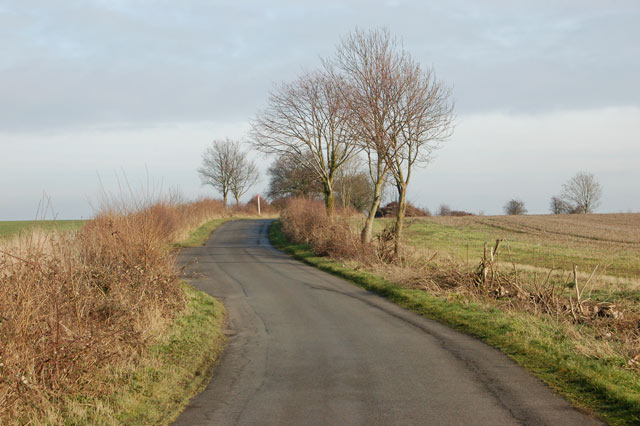 Looking east along Shakers Lane near Newfields Farm