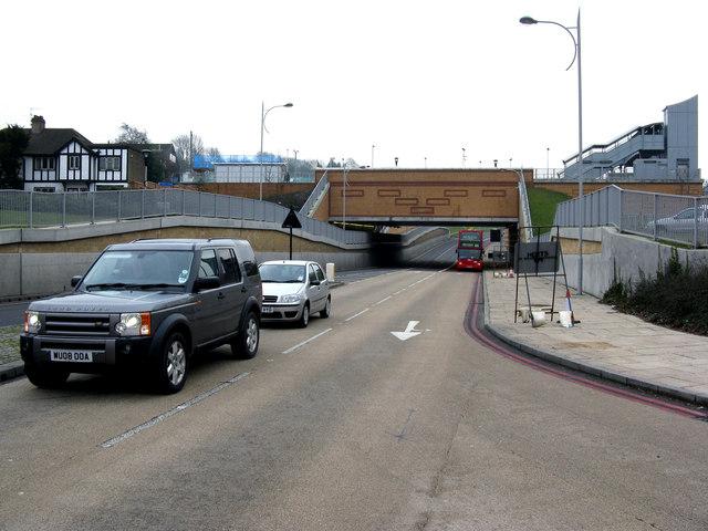 Bus stop under the bridge