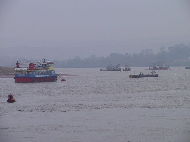 Boats moored on the River Exe