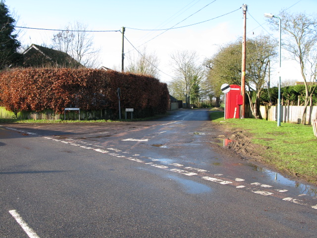 Junction of Jemmett Lane off Church Road, Mersham