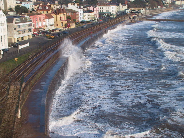 Waves breaking over the Sea wall at Dawlish