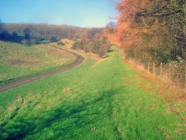 Estate road up Alderton Hill