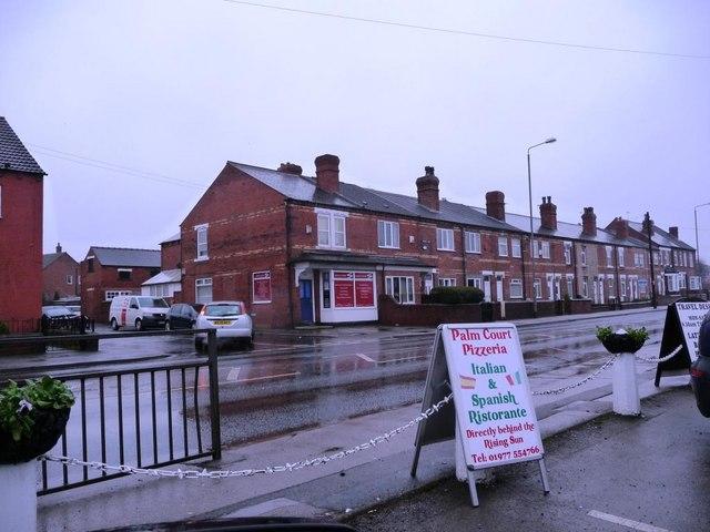 Houses on Whitwood Common Lane, opposite the Rising Sun pub