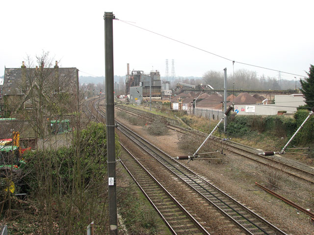 View across the Norwich to London railway line in Trowse