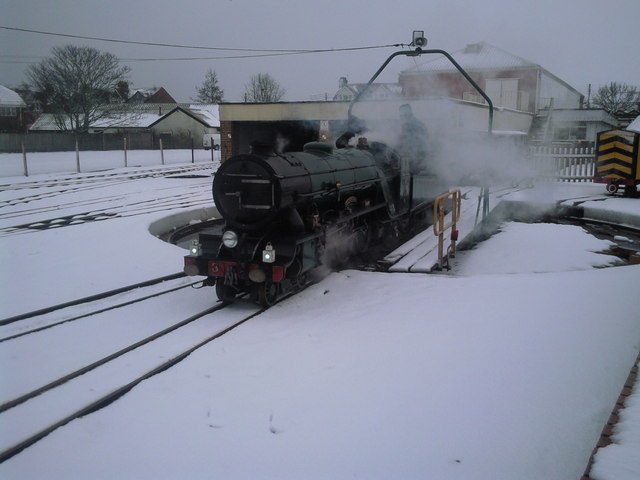 Southern Maid backs on to the turntable at New Romney