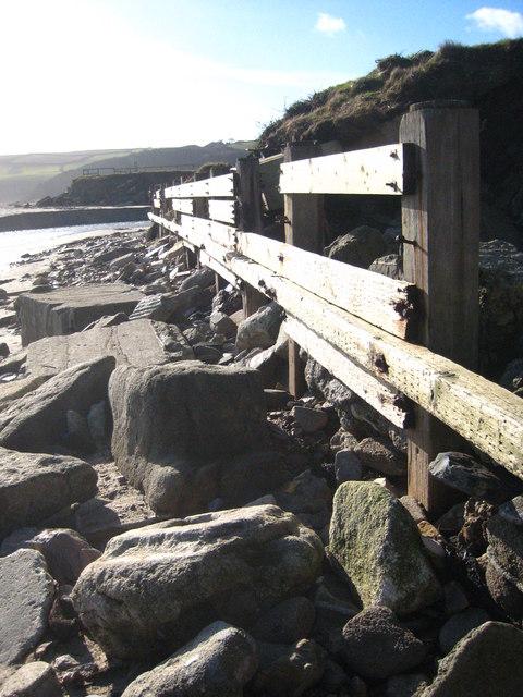 Wooden sea defences at Pentewan