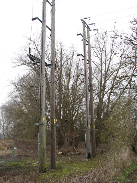 Poles by Trowse electricity sub-station