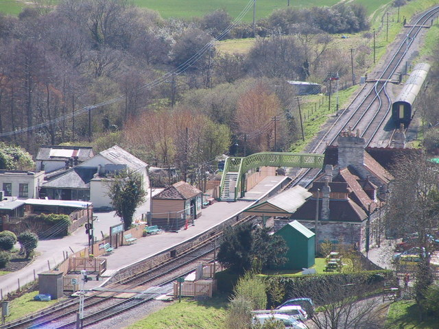 Corfe Castle Station from the Castle