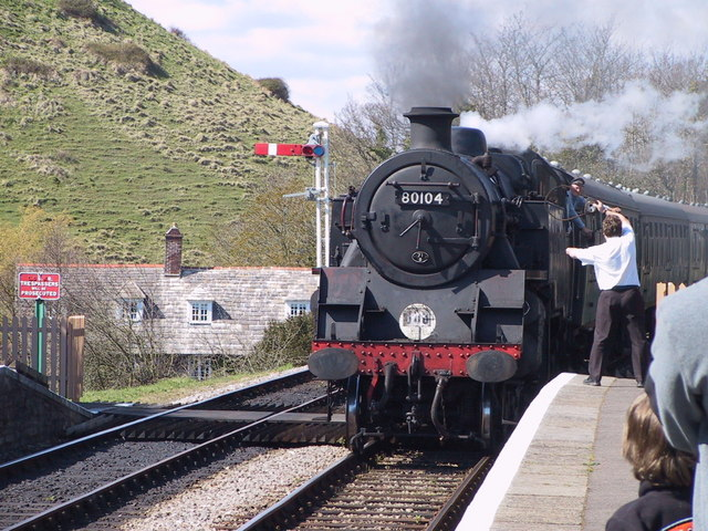Steam Train arriving at Corfe Castle Station