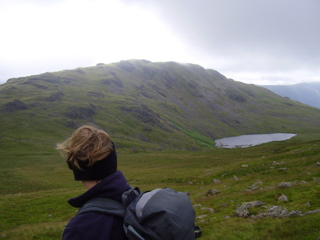 On the slopes of Seatallen looking to Greendale tarn and Middle fell.