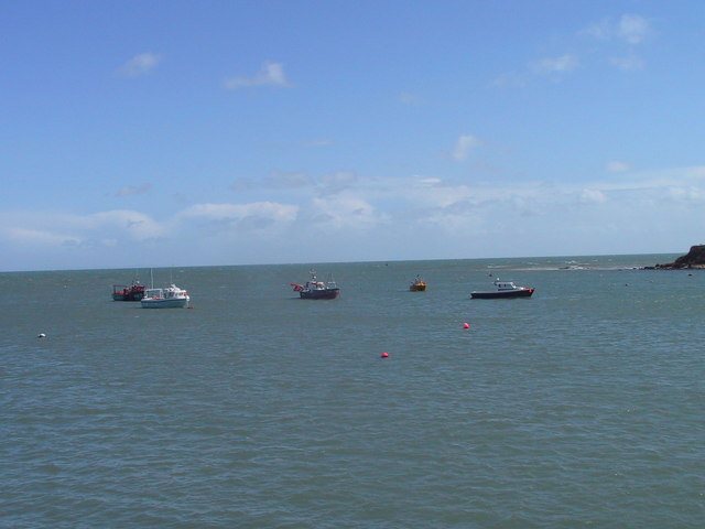 Boats anchored off Swanage